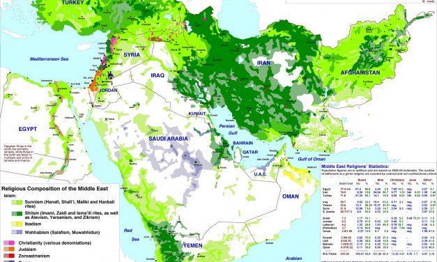Kartta: Uskonnot Lähi-idässä