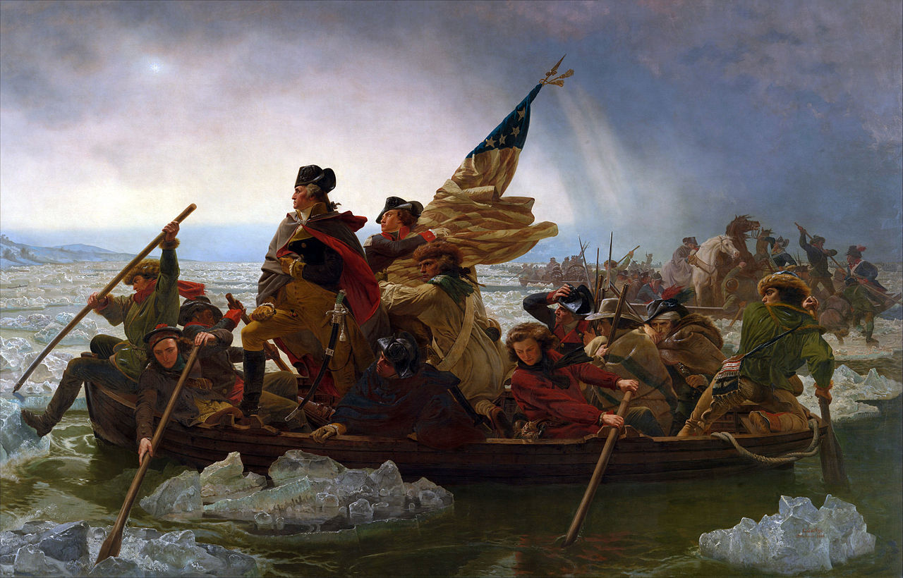 "Emanuel Leutzen vuoden 1851 maalaus ""Washington Crossing the Delaware"". Kuva: Wikimedia Commons"