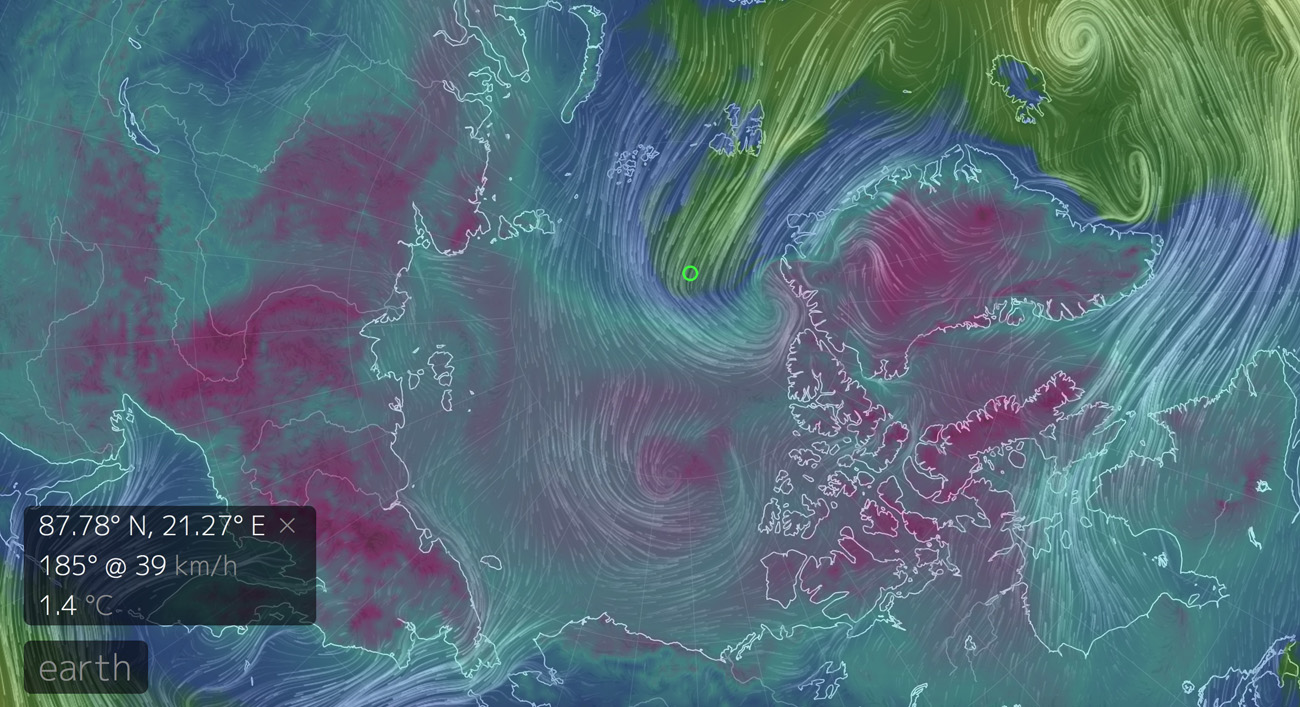 Pohjoisnavan ylle siirtynyt ilmamassa oli erittäin poikkeuksellisesti plusasteilla 30.12.2015. Lähde Earth Nullschool, GFS/NCEP/National Weather Service (http://earth.nullschool.net/)