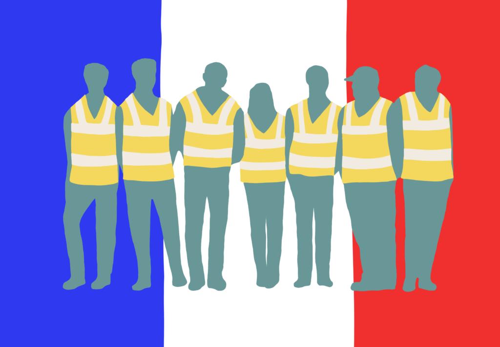 Ranskan lippu ja keltaliivit